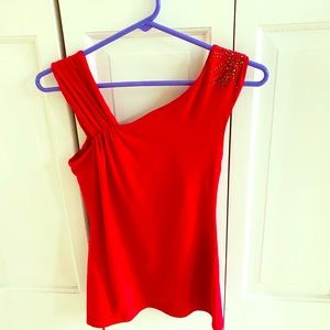 Knit top,red,new with tags.Sequins on one shoulder